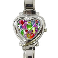 Colorful Bubbles Squares Background Heart Italian Charm Watch by Simbadda