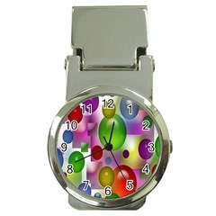 Colorful Bubbles Squares Background Money Clip Watches by Simbadda