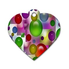 Colorful Bubbles Squares Background Dog Tag Heart (one Side) by Simbadda
