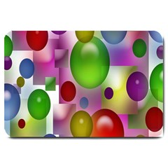 Colorful Bubbles Squares Background Large Doormat  by Simbadda