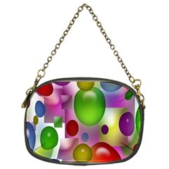 Colorful Bubbles Squares Background Chain Purses (two Sides)  by Simbadda