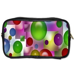 Colorful Bubbles Squares Background Toiletries Bags 2 Side by Simbadda