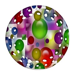 Colorful Bubbles Squares Background Round Filigree Ornament (two Sides) by Simbadda
