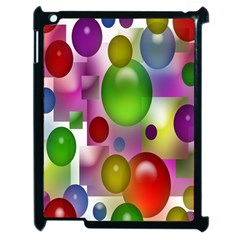Colorful Bubbles Squares Background Apple Ipad 2 Case (black) by Simbadda