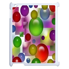 Colorful Bubbles Squares Background Apple Ipad 2 Case (white) by Simbadda