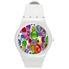 Colorful Bubbles Squares Background Round Plastic Sport Watch (m) by Simbadda