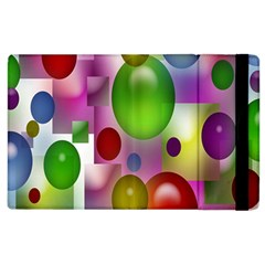 Colorful Bubbles Squares Background Apple Ipad 2 Flip Case by Simbadda