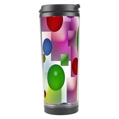 Colorful Bubbles Squares Background Travel Tumbler by Simbadda