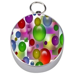 Colorful Bubbles Squares Background Silver Compasses by Simbadda