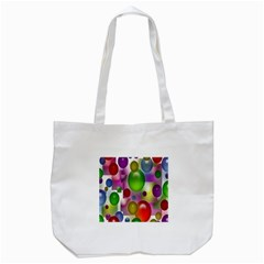 Colorful Bubbles Squares Background Tote Bag (white) by Simbadda
