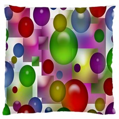 Colorful Bubbles Squares Background Large Flano Cushion Case (two Sides) by Simbadda