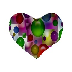 Colorful Bubbles Squares Background Standard 16  Premium Flano Heart Shape Cushions by Simbadda