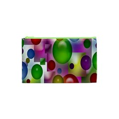 Colorful Bubbles Squares Background Cosmetic Bag (xs) by Simbadda