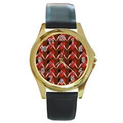 Peacocks Bird Pattern Round Gold Metal Watch by Simbadda