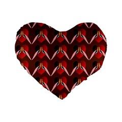 Peacocks Bird Pattern Standard 16  Premium Heart Shape Cushions by Simbadda