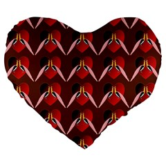 Peacocks Bird Pattern Large 19  Premium Heart Shape Cushions by Simbadda