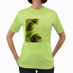 Peacock Feathery Background Women s Green T Shirt by Simbadda