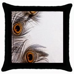 Peacock Feathery Background Throw Pillow Case (black) by Simbadda