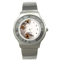 Peacock Feathery Background Stainless Steel Watch by Simbadda