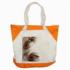 Peacock Feathery Background Accent Tote Bag by Simbadda
