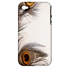 Peacock Feathery Background Apple Iphone 4/4s Hardshell Case (pc+silicone) by Simbadda