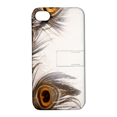 Peacock Feathery Background Apple Iphone 4/4s Hardshell Case With Stand by Simbadda