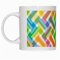 Abstract Pattern Colorful Wallpaper White Mugs by Simbadda