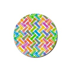 Abstract Pattern Colorful Wallpaper Rubber Coaster (round)  by Simbadda