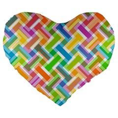 Abstract Pattern Colorful Wallpaper Large 19  Premium Heart Shape Cushions by Simbadda