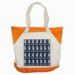 Seahorse And Shell Pattern Accent Tote Bag by Simbadda