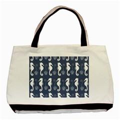 Seahorse And Shell Pattern Basic Tote Bag (two Sides) by Simbadda