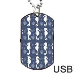 Seahorse And Shell Pattern Dog Tag Usb Flash (one Side) by Simbadda