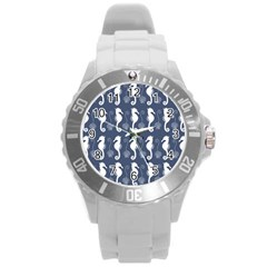 Seahorse And Shell Pattern Round Plastic Sport Watch (l) by Simbadda