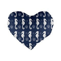 Seahorse And Shell Pattern Standard 16  Premium Heart Shape Cushions by Simbadda