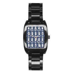 Seahorse And Shell Pattern Stainless Steel Barrel Watch by Simbadda