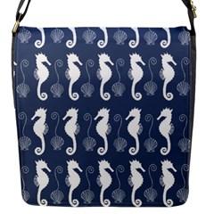 Seahorse And Shell Pattern Flap Messenger Bag (s) by Simbadda