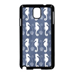 Seahorse And Shell Pattern Samsung Galaxy Note 3 Neo Hardshell Case (black) by Simbadda