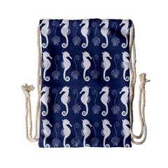 Seahorse And Shell Pattern Drawstring Bag (small) by Simbadda