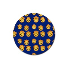 Monkeys Seamless Pattern Rubber Coaster (round)  by Simbadda