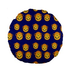 Monkeys Seamless Pattern Standard 15  Premium Flano Round Cushions by Simbadda