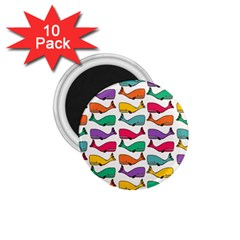 Small Rainbow Whales 1 75  Magnets (10 Pack)  by Simbadda