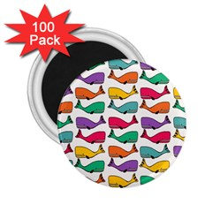 Small Rainbow Whales 2 25  Magnets (100 Pack)  by Simbadda