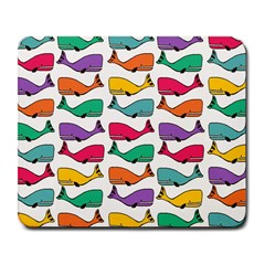 Small Rainbow Whales Large Mousepads by Simbadda
