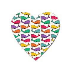 Small Rainbow Whales Heart Magnet by Simbadda