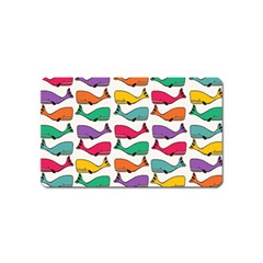 Small Rainbow Whales Magnet (name Card) by Simbadda