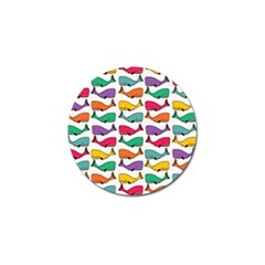 Small Rainbow Whales Golf Ball Marker