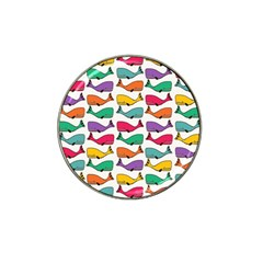 Small Rainbow Whales Hat Clip Ball Marker by Simbadda