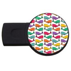 Small Rainbow Whales Usb Flash Drive Round (4 Gb) by Simbadda