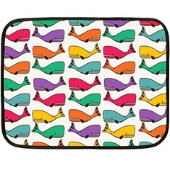 Small Rainbow Whales Double Sided Fleece Blanket (mini)  by Simbadda