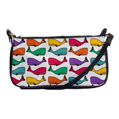 Small Rainbow Whales Shoulder Clutch Bags by Simbadda
